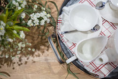 empty white ceramic tea set Royalty Free Stock Images