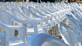 Empty white chairs Royalty Free Stock Images