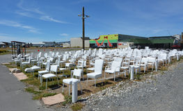 185 empty white chairs sculpture in Christchurch New Zealand Stock Photo