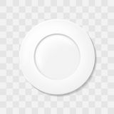 Empty white classic circle plate. Top view dish Realistic vector. Stock Images