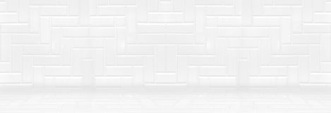 Empty white clean ceramic tile wall and floor background,Minimal Stock Photo