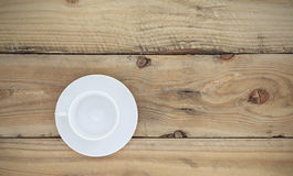 Empty white coffee cup on old wooden,Top view Stock Photography