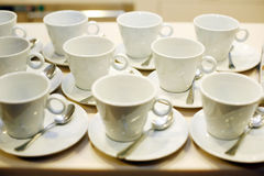 Empty white coffee cups Stock Image