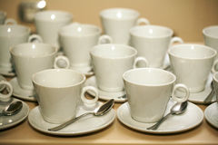 Empty white coffee cups Stock Images