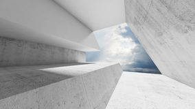 Empty white concrete interior with cloudy sky. Behind the window. Modern minimalist architecture background, 3d render illustration stock illustration