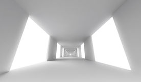 Empty white corridor. Abstract 3d background Stock Photography
