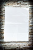 Empty white Crumpled paper on stone background Royalty Free Stock Photography