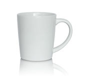 Empty white cup on white background Stock Photos