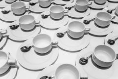 Empty white cups royalty free stock photos
