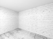 Empty white 3d room interior, corner with brick walls Stock Image