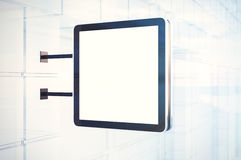 Empty white  digital screen in city. Cristal facades of modern buildings. Horizontal mockup, isolated, blurred Stock Image
