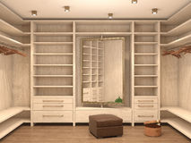 Empty white dressing room,. Interior of a modern house. 3d illustration royalty free illustration