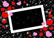 Empty White Frame And Red Pink Heart Shape For Template Banner Valentines Card Black Background, Many Hearts Shape On Black Stock Photography
