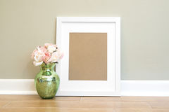 Empty White Frame Background With Flowers - Vertical Royalty Free Stock Image