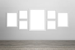 Empty white frames on wall. Isolated for mockup Royalty Free Stock Images