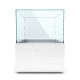 Empty white glass showcase for exhibit. Isolated in white backgrownd Royalty Free Stock Photography