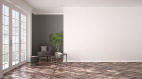 Empty white and gray interior with big panoramic window, armchair, pouf, table and plant. Herringbone parquet floor, classic royalty free stock photography