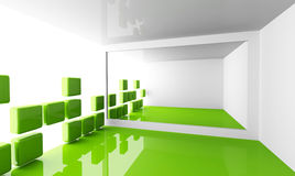 Empty white and green modern room interior. Abstract architecture background with empty white and green modern room interior with decorated light wall Royalty Free Stock Photography