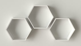 Empty white hexagons shelves on concrete wall background, 3D rendering Stock Images