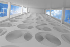 Empty white interior background with round holes. On floor and blue cloudy sky outside, 3d illustration Stock Images