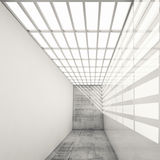 Empty white interior with bright ceiling illumination, 3d Royalty Free Stock Images