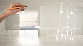 Empty white interior with white ceramic marble tiles floor, hand drawing custom architecture design, white ink sketch, blueprint. Showing modern minimalist royalty free stock photos