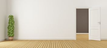 Empty white interior with door. Empty white interior with openo door and hardwood floor - 3d rendering Royalty Free Stock Photo