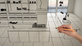 Empty white interior with white marble ceramic tiles, hand drawing custom architecture design, black ink sketch, blueprint showing. Modern minimalist kitchen royalty free stock image