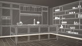 Empty white interior with parquet floor, custom architecture design project, white ink sketch, blueprint showing classic kitchen. S vector illustration