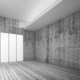 Empty white interior with wooden floor, 3d Royalty Free Stock Photography