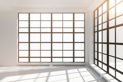 Empty white loft interior with floor-to-ceiling windows. Close up stock photo
