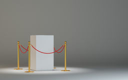 Empty white museum podium with barrier tape Royalty Free Stock Photography