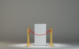 Empty white museum podium with barrier tape Stock Photos