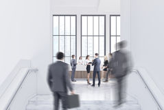 Empty white office hall, reception, people Royalty Free Stock Image
