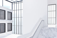 Empty white office hall, staircase, side view Stock Photos