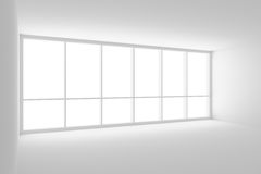 Empty white office room with large window. Business architecture white colorless office room interior - empty white office room with white floor, white ceiling Royalty Free Stock Photography