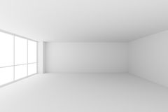 Empty white office room with large windows. Business architecture white colorless office room interior - empty white business office room with white floor Stock Image