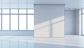 Empty office space, 3d rendering vector illustration