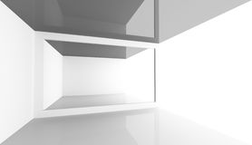 Empty white open space room interior, 3d. Abstract minimal architecture background. Empty white open space modern room interior, 3d illustration Stock Image