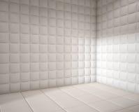 Empty white padded room vector illustration