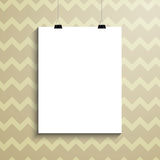 Empty white paper blank over background with zig zag Royalty Free Stock Photos