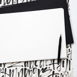 Empty white paper with brush on calligraphy grangy background Royalty Free Stock Photos