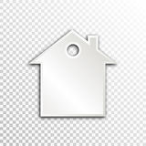 Empty white paper plate base for text. Simple house form card on transparent background Stock Images