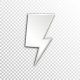 Empty white paper plate base for text. Simple lightning form card on transparent background Royalty Free Stock Images