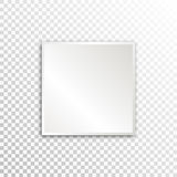 Empty white paper plate base for text. Simple square form card on transparent background Stock Images