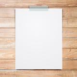 Empty White Paper Sheet Stick On Wood Background. Royalty Free Stock Photo