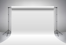Empty white photo studio. Realistic 3D template mock up. Vector. Stock Photography