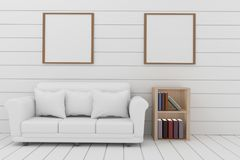 Empty white plank room with sofa and shelf design in 3D rendering. Empty white plank room with sofa and shelf in 3D rendering Royalty Free Stock Photography