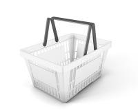 Empty white plastic shopping basket foe food Stock Images