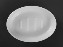 Empty white plastic soap-dish Royalty Free Stock Images
